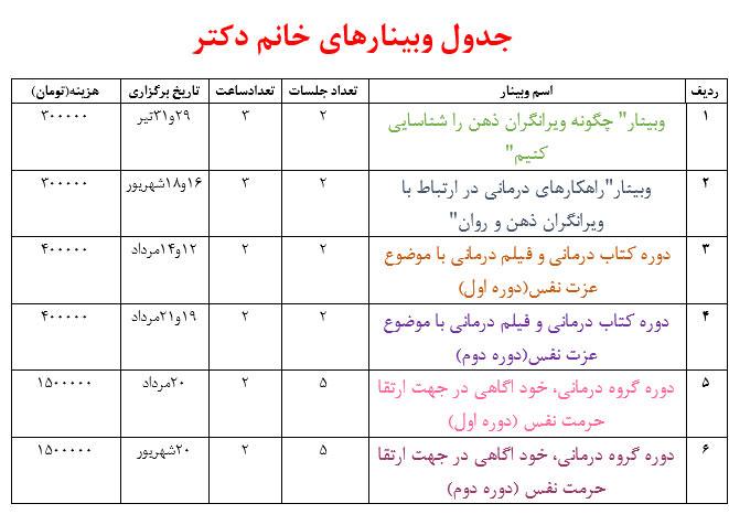 جدول وبینارهای دکتر فهیمه رضائی